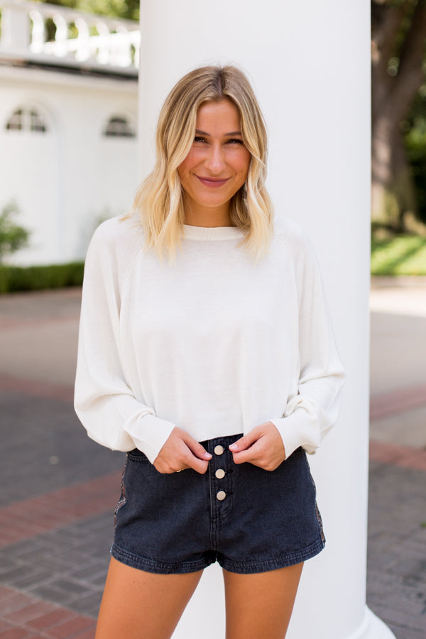 BB Dakota Cropped Sweater- Ivory