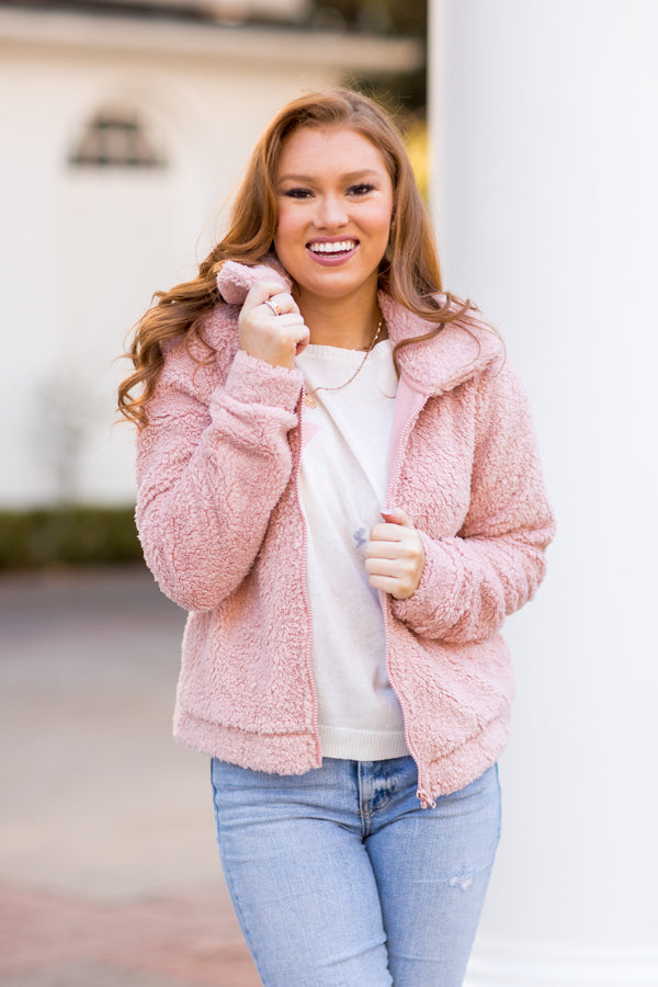 Z Suppy Sherpa Crop Jacket - Misty Pink