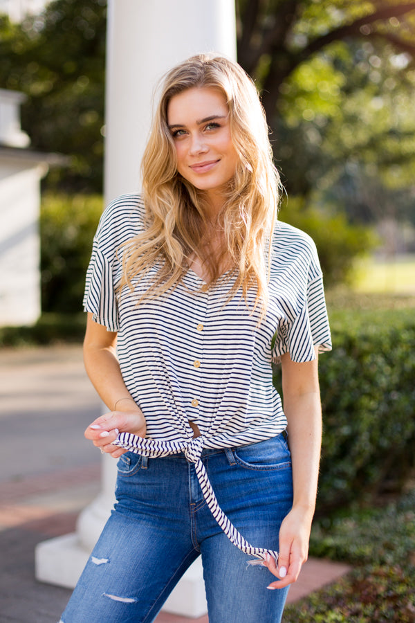 Seven Seas Tie Top- Navy