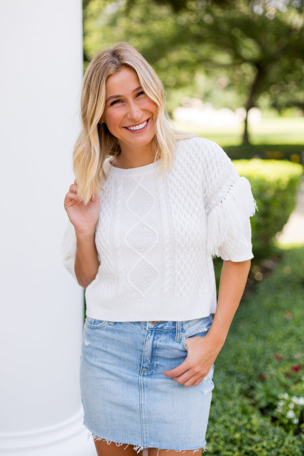 BB Dakota Fringe Out Sweater Top- White