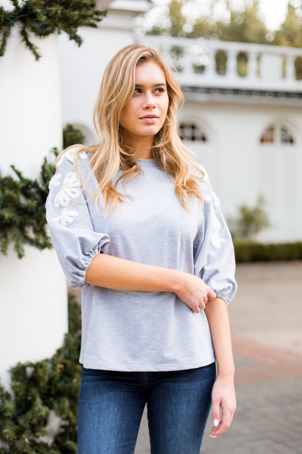 Show Off Your Sleeves Top- Grey