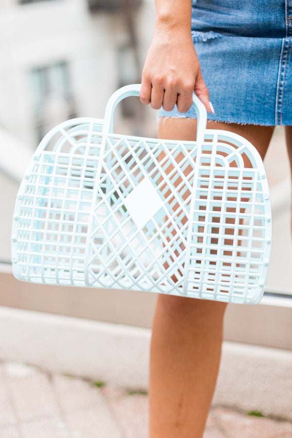 Large Sun Jelly Basket Bag- Blue
