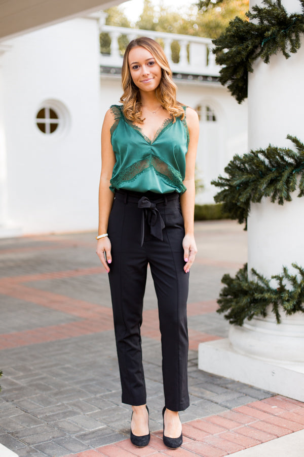 Lace & Lights Top- Green