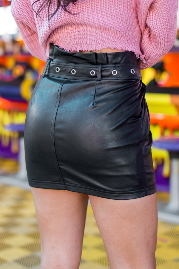 Ring Toss Leather Skirt- Black