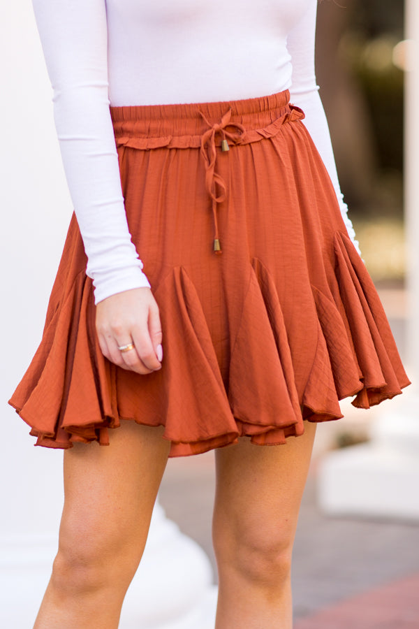 Sweet As Pumpkin Pie Skirt - Rust