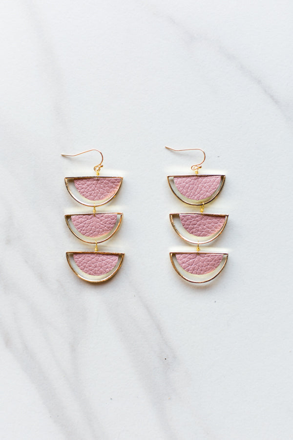 Melon Drop Earrings- Mauve