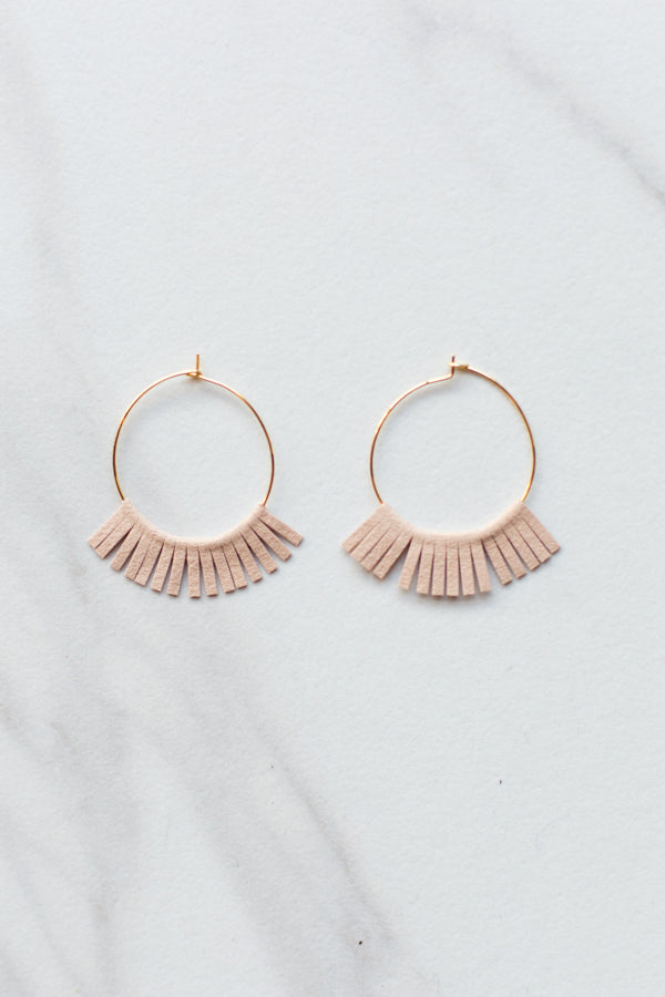 Suede Fringe Hoops- Blush
