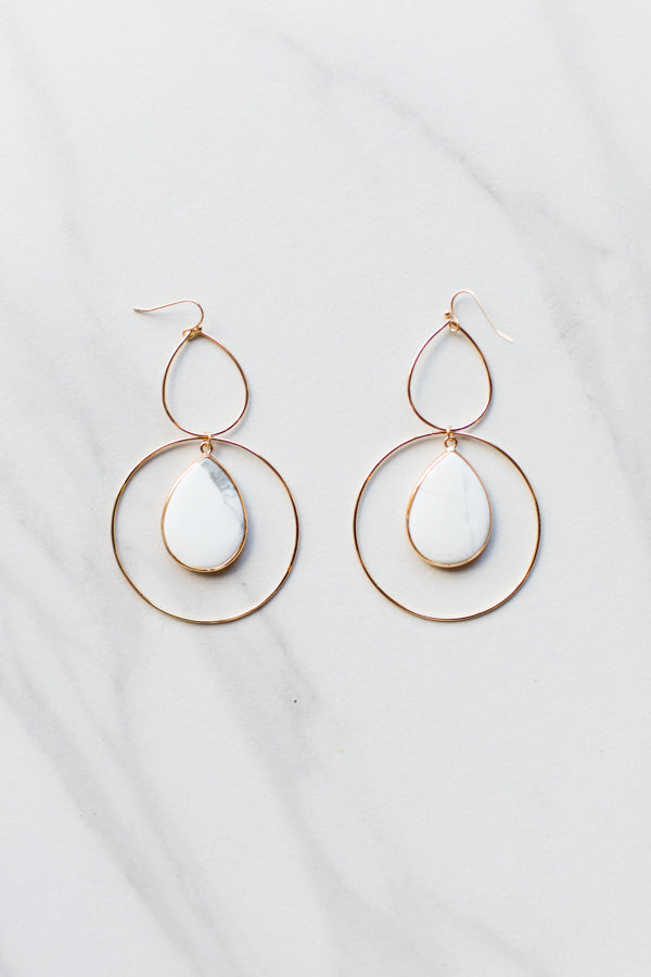 Hannah Earrings- White Marble