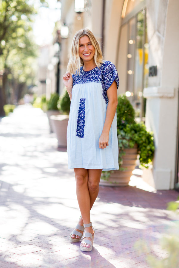 The Blakely Dress - Light Blue