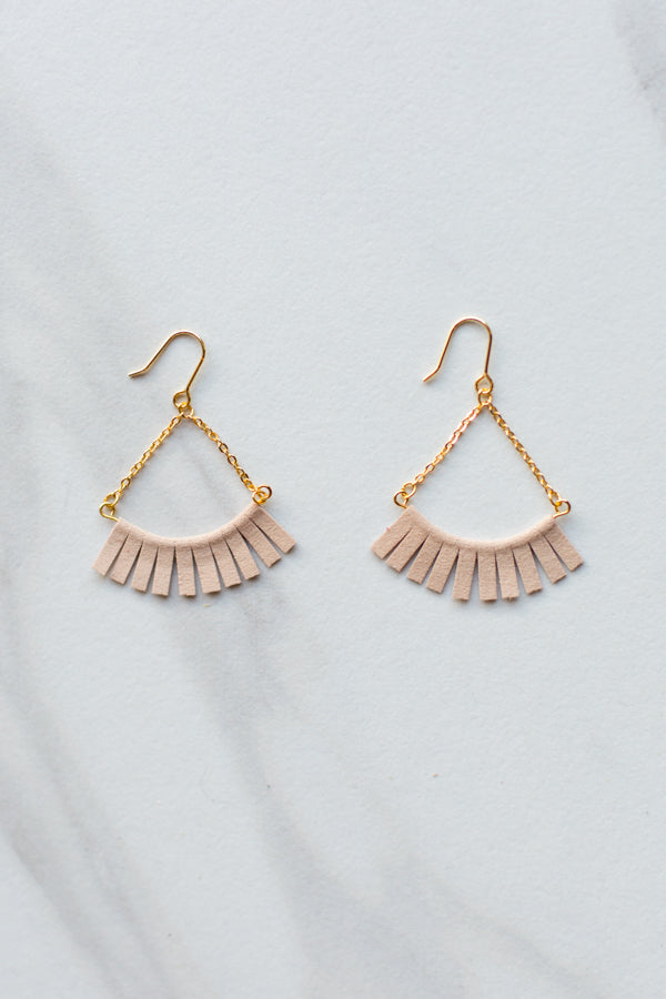 Suede Fanfare Earrings- Blush