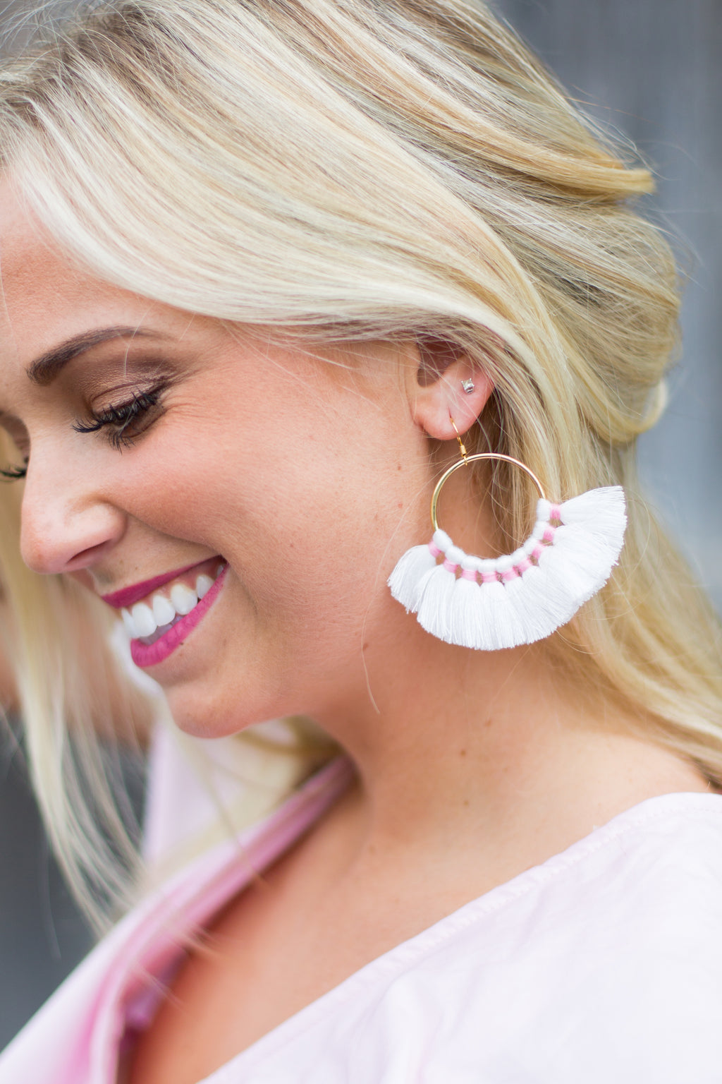 Dolled Up Tassel Hoop Earrings - White