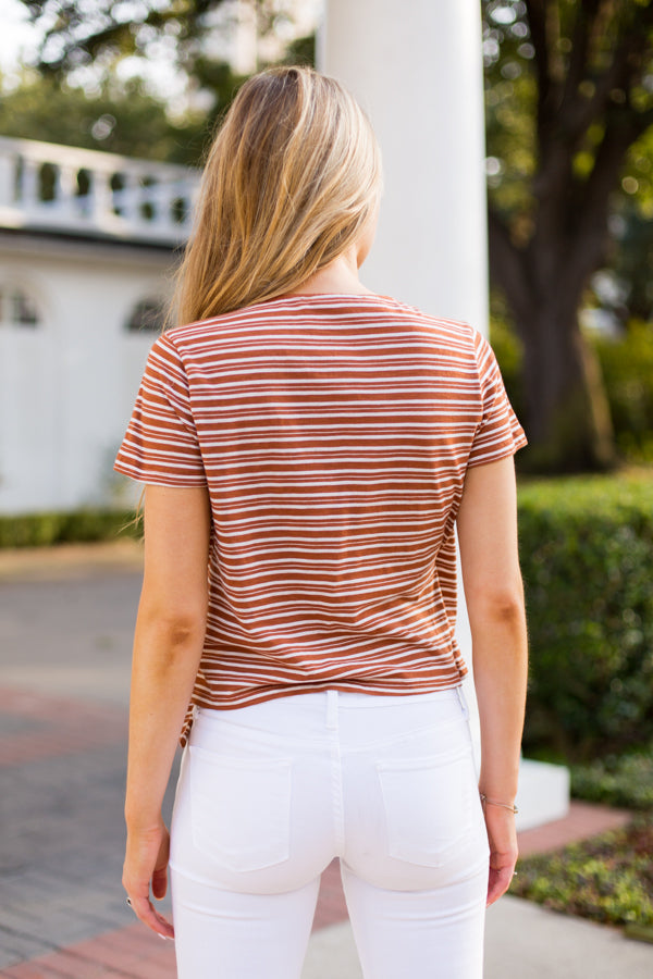 Retro Wrap Top- Rust