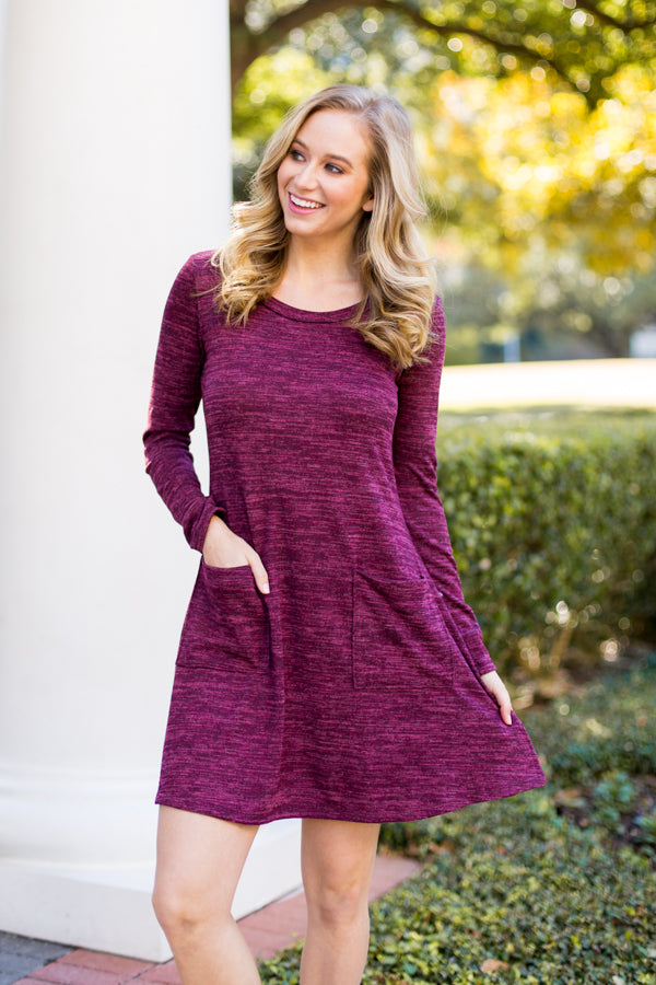 Pie Time Sweater Dress- Burgundy