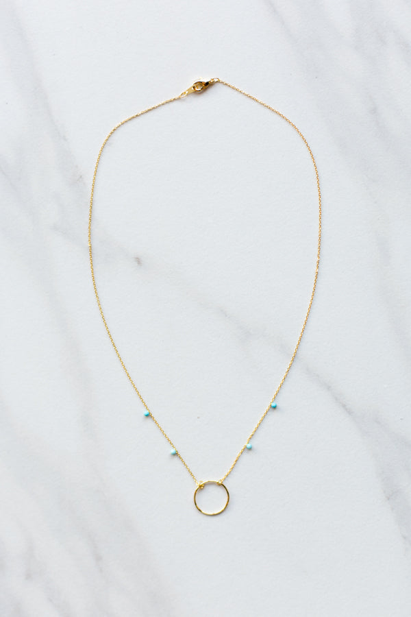 Dainty Gemma Necklace- Turquoise