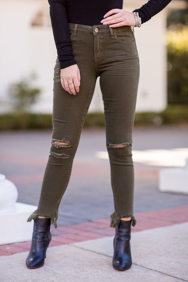 Into The Pines Distressed Skinny Jeans - Foliage
