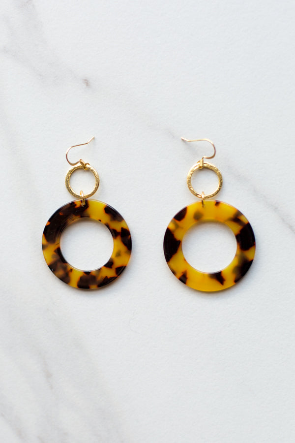 Tortoise Acrylic Circle Earrings