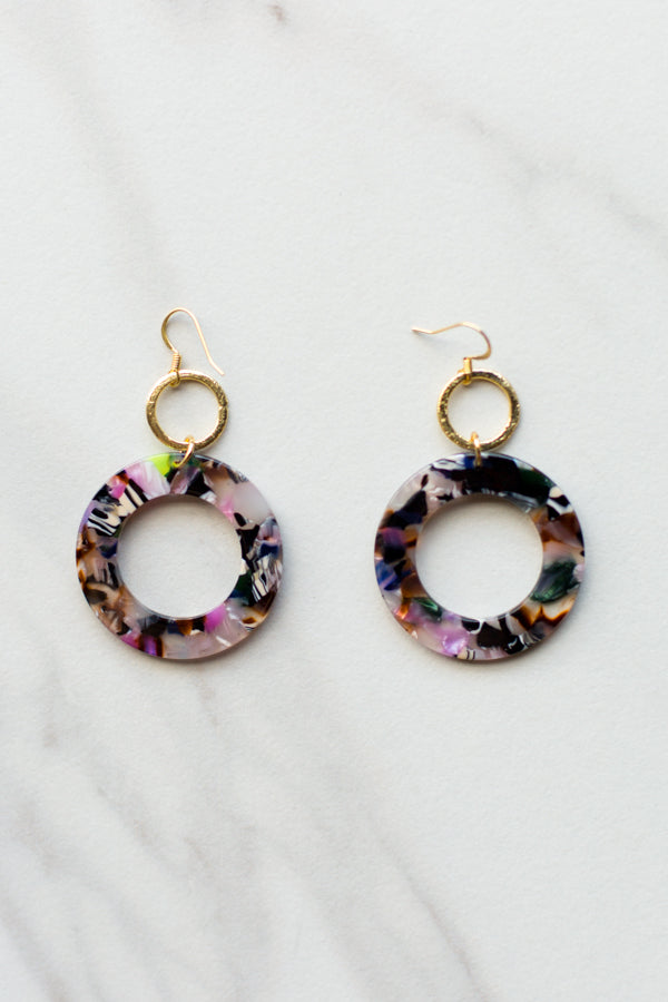 Multicolored Acrylic Circle Earrings