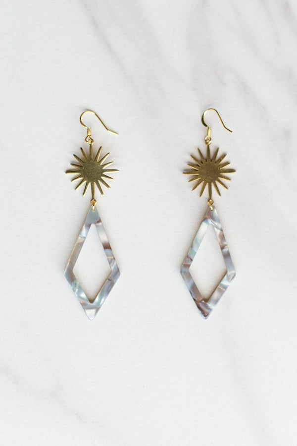Acrylic Starburst Earrings- Grey