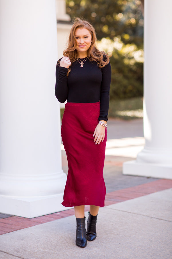 With Love From Paris Midi Skirt - Burgundy