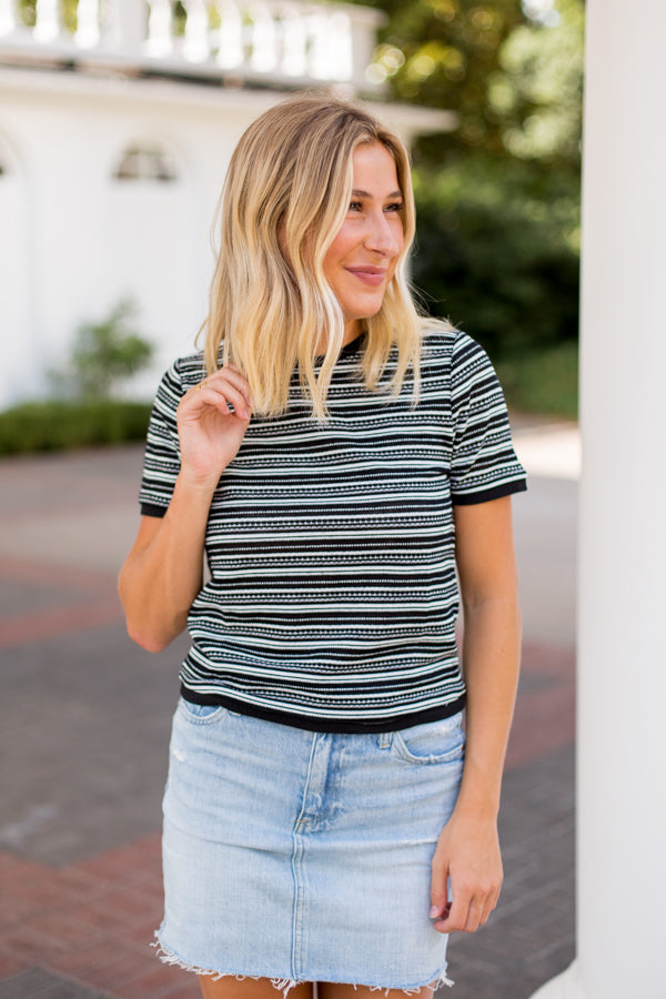 BB Dakota Ava Striped Tee- Black