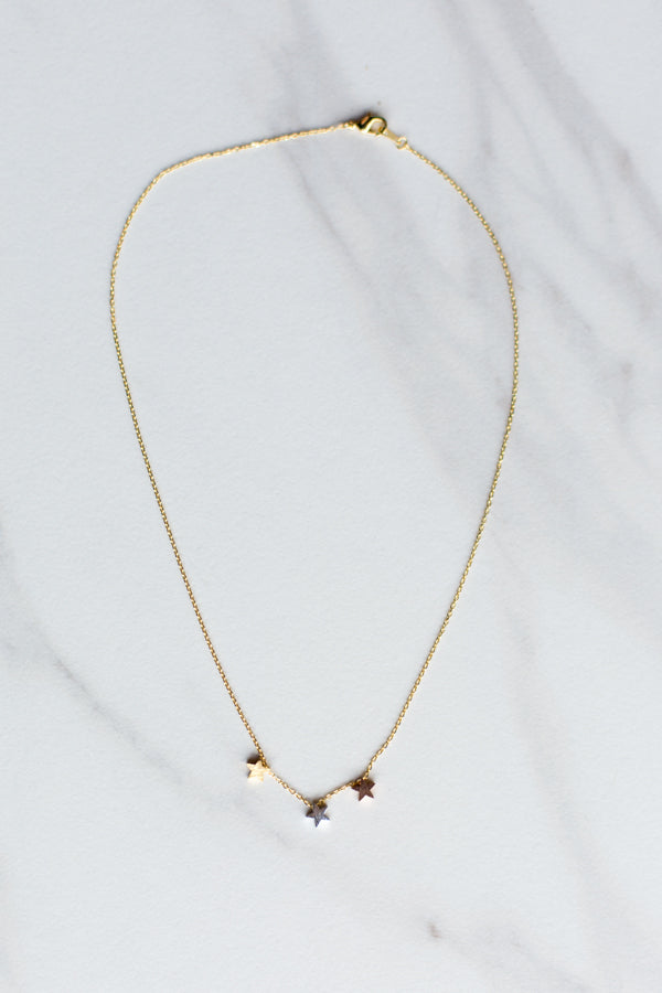 Tri Star Necklace- Gold, Silver & Bronze