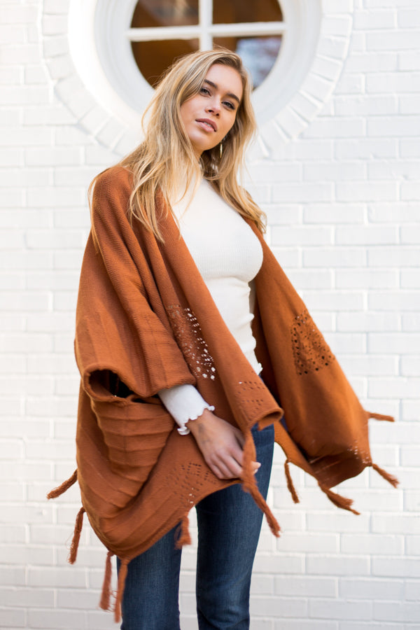 Tassel's Worth The Hassle Cardigan- Camel