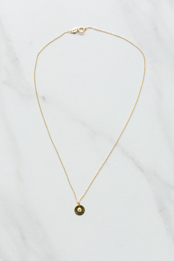 Dainty Disk Necklace- Gold