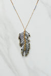 Beaded Feather Necklace- Gunmetal