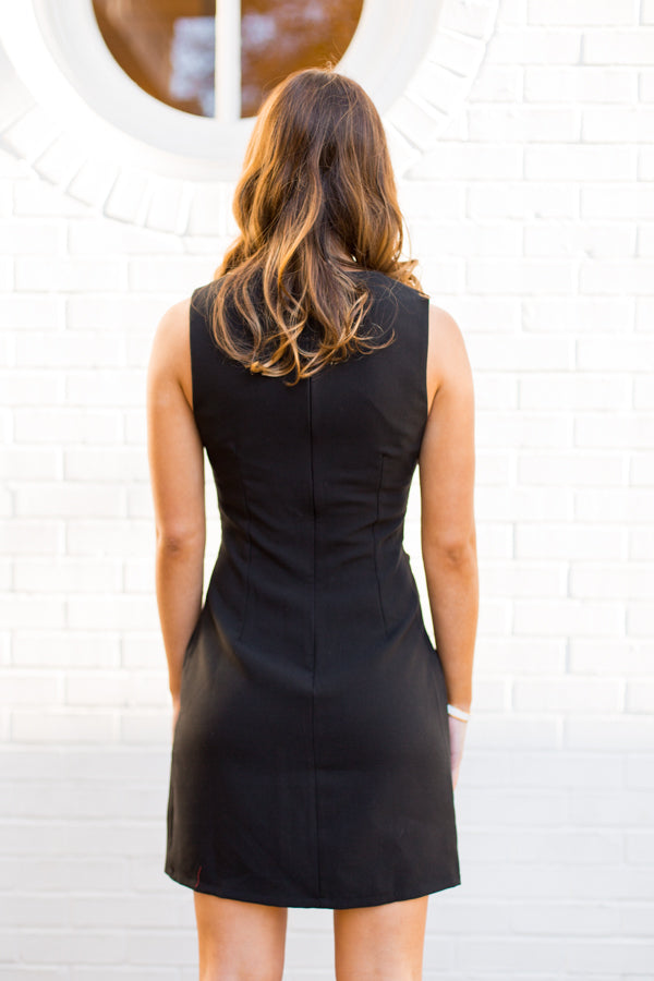 Boardroom Tie Dress- Black