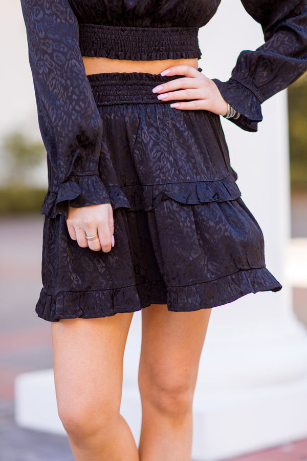 Feeling Fearless Skirt - Black Leopard