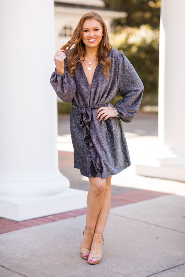 Silver Bells Wrap Dress