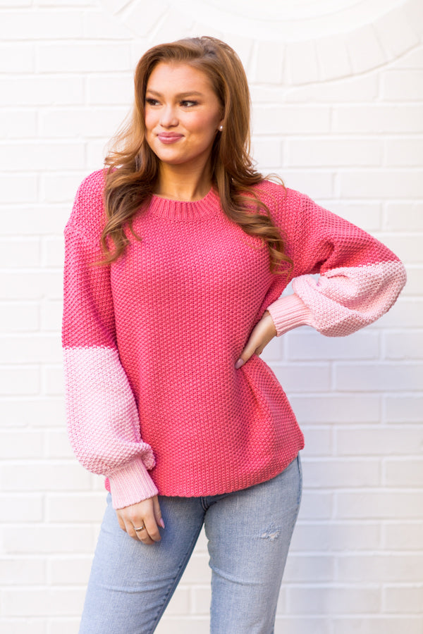 Wildfox Love Block Swinton Sweater - French Rose