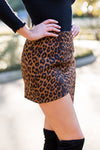 Cheetah Split Skirt- Brown