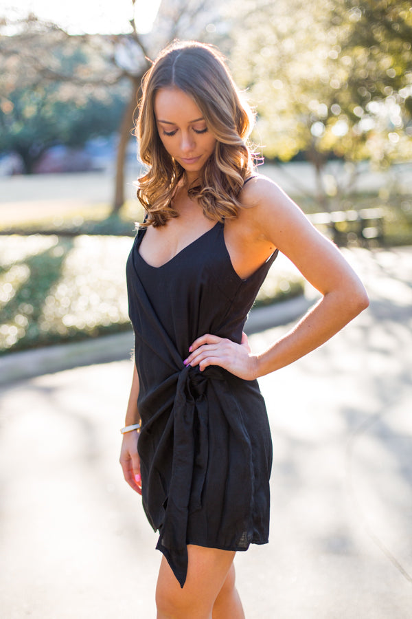 That's A Wrap Dress- Black