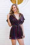 Velvet Cheer Romper- Multicolor