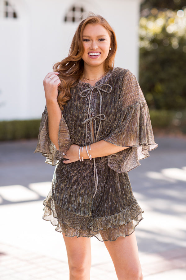 Champagne Toast Romper - Gold