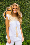 The Pamela Top- White & Gold