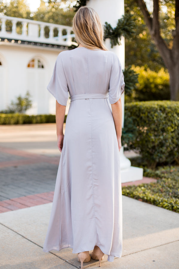 Winter Ball Maxi Dress- Silver