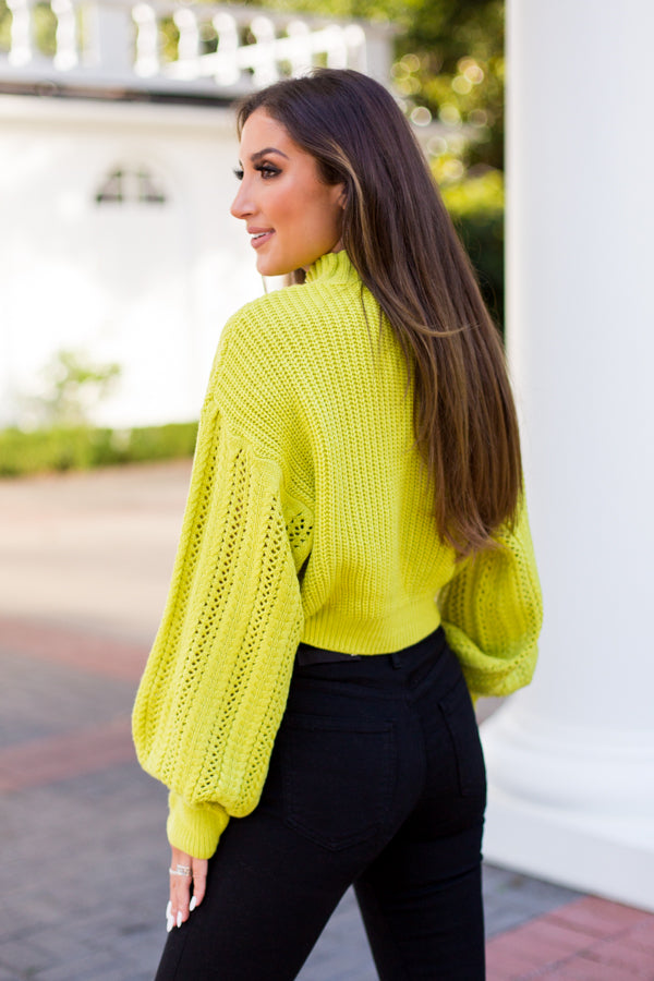Roller Rink Ready Sweater - Neon Lime