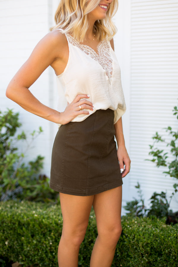 Basic Olive Denim Skirt