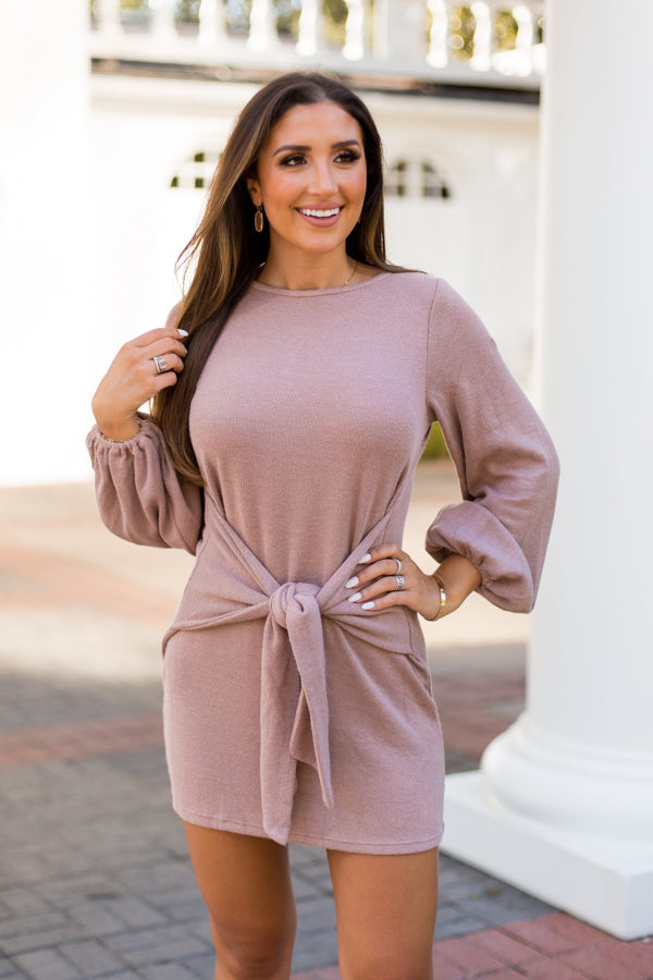 Cup Of Cozy Sweater Dress - Mocha