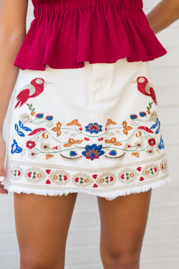 Seville Embroidered Denim Skirt