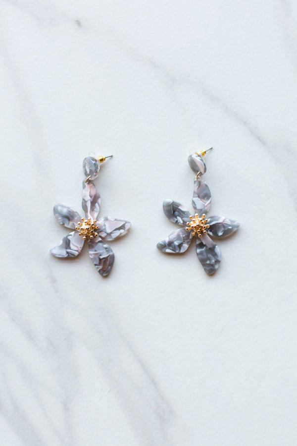 Acrylic Flower Earrings- Grey