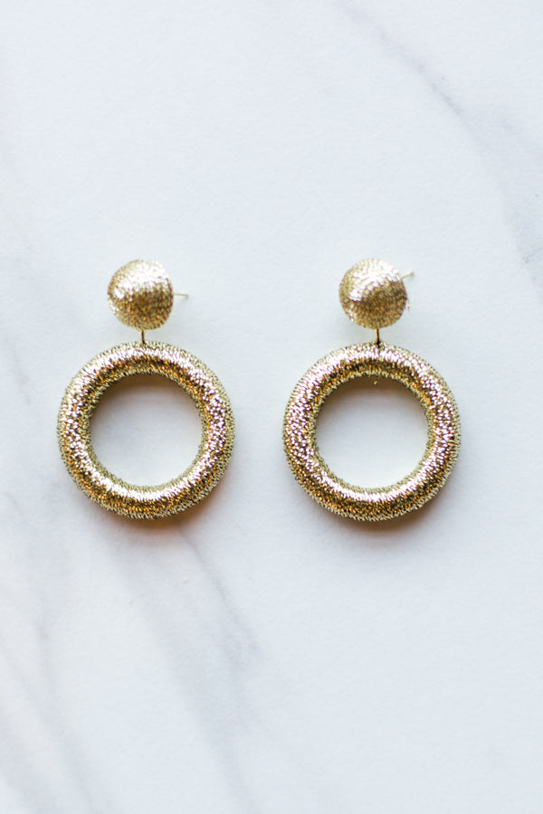 Tinsel Circle Earrings- Gold