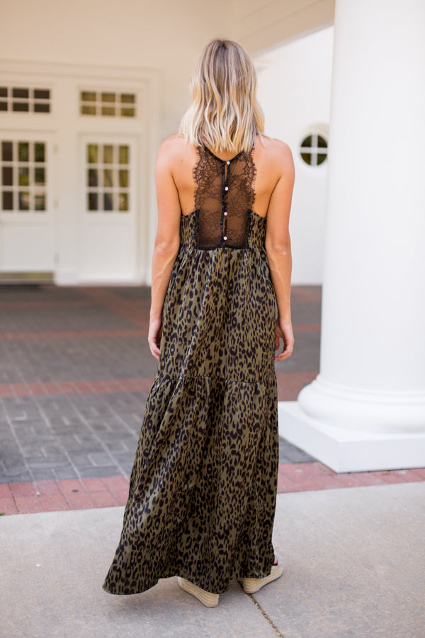 Cut To The Chase Maxi Dress- Olive Leopard