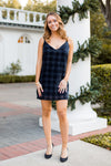Frosted Plaid Velvet Dress- Navy