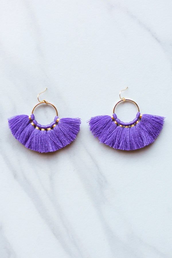 Small Fanfare Earrings- Purple