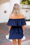 Ruffle Days Romper- Navy