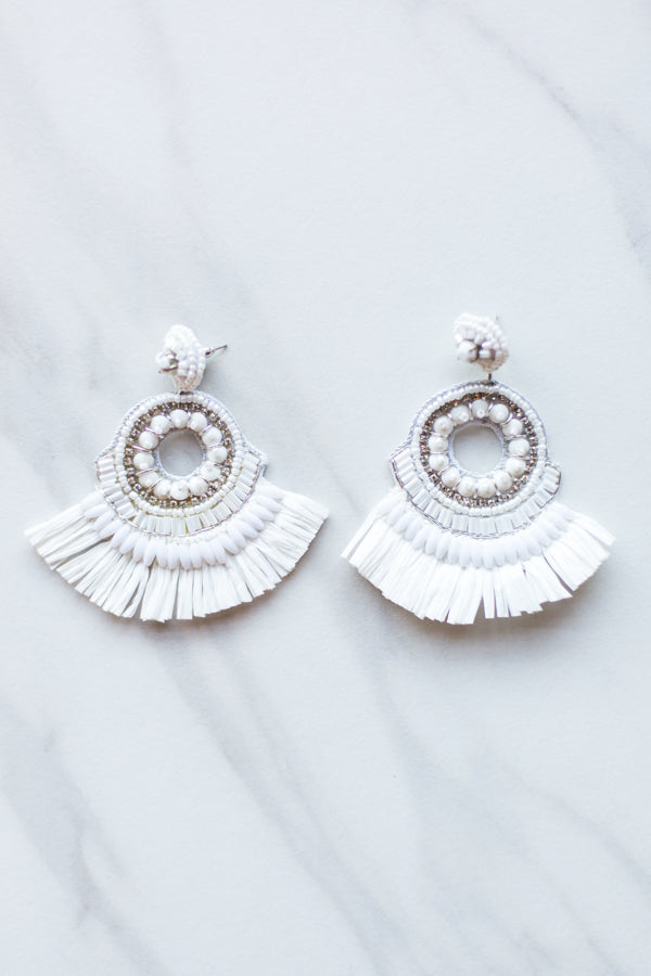 Dubai Beaded Earrings- White