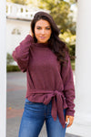 Totally Tied Turtleneck Sweater- Burgundy